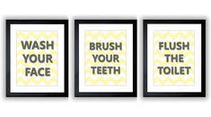 "HALF BATH Yellow Grey Gray Bathroom Print Chevron Art MAYBE DO ""WASH YOUR HANDS"" and ""FLUSH THE TOILET"""