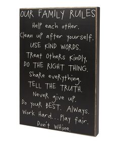 'Our Family Rules' Box Sign by Collins on #zulily today! Mom Baby, Ideas, Wall Signs, Stuff, Boxes Signs, Inspiration Quotes, Future Things, Family Rules, Families Rules