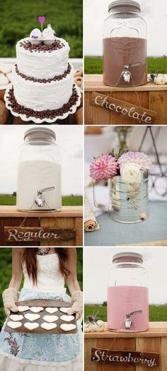 i love the milk dispensers... milk+cookies shoot by www.loveandlavender.com via Stylemepretty