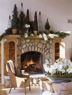 Holiday Decor  #Christmas #Open_House #decor cabinets, topiari, rustic christmas, holiday decorating, christmas trees, stone fireplaces, traditional homes, christmas mantles, christmas mantels