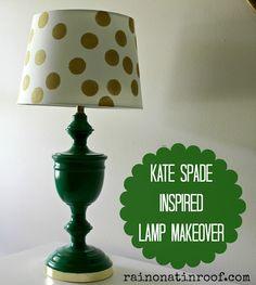 Simple makeover with big impact! Kate Spade Inspired Lamp Makeover {rainonatinroof.com} #katespade #lamp #makeover #kellygreen #polkadots #DIY #rainonatinroof