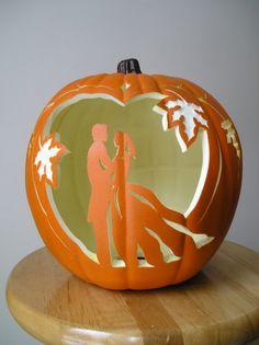 Fall Wedding Bride and Groom Carved Decorative Pumpkin