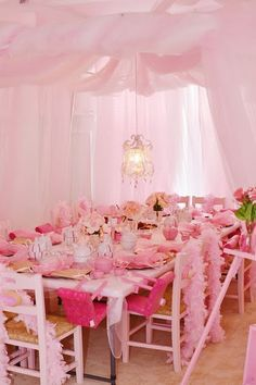 Love the all pink tea party.