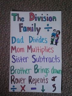Clever way to teach a right brained learner long division!