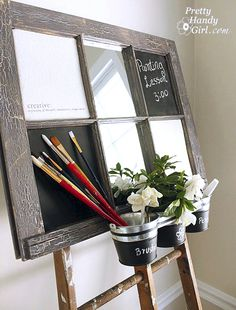 Reutilizar ventanas antiguas easels, old window frames, chalkboards, craft, blackboard paint, inspiration boards, chalkboard paint, old windows, memo boards