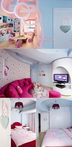 hello kitti, living rooms, kitti room, sweet, futur, hello kitty house, dream hous, live room, hellokitti