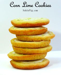Corn Lime Cookies, the perfect holiday cookie with a Zesty Lime Icing, from NoblePig.com