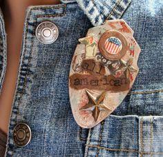 holiday jewelri, alter art, dayjuli 4thamericana, mixed media, handmad jewelri