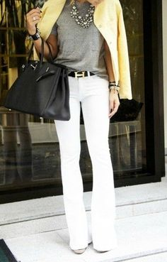 Just got a pastel yellow blazer and looking for ways to outfit it. I like this a lot. Yellow blazer, gray top, white jeans, and black bag.