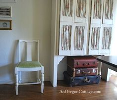Using vintage suitcases for paper crafts storage.