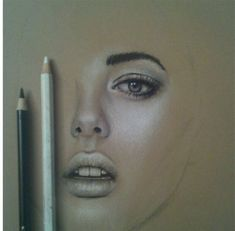 white and black pencil on skin toned paper - brilliant! Good inspiration for drawing faces