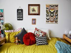 Mixing throw pillows featuring different patterns within the same color palette creates a cohesive but playful look.