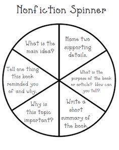 nonfiction spinner for guided reading
