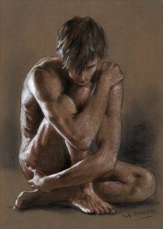 Philip Gladstone: Untitled (kneeling male nude),Mixed-media on paper