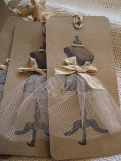 rubber stamp, tulle, ribbon