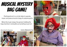 Played like hot potato, this fun game involves sitting in a circle, listening to spooky music and passing around a bag around of random parts of costumes. When the music stops and you're holding the bag, reach in without looking and pull out something and put it on! #ActivitiesForSeinors