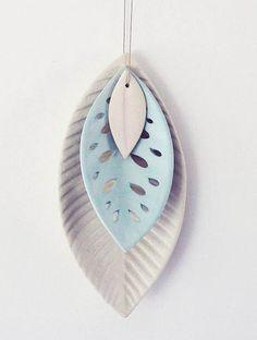 Reneé Boyd : Ceramic 3 Leaf Set - White/Blue - Clever Bastards: The best of New Zealand art & design