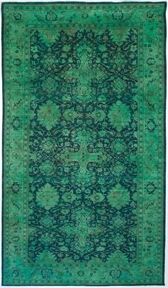 This one of a kind Color Reform Spectrum Edition rug was handwoven in Pakistan usinghand spunwool and then over-dyed to create its remarkable chromatic composition. By ABC Carpets decor, home colors, beauti green, color reform, green and blue rug, abc carpet, carpets, canvas, oriental rugs
