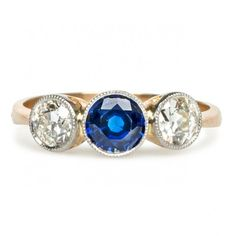 antique edwardian sapphire ring / trumpet & horn
