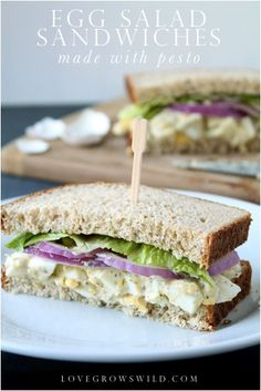Pesto Egg Salad Sandwiches - a new twist on a classic! via LoveGrowsWild.com
