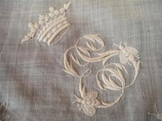 Antique 1700s 18th century hand embroidery monogramme Bees crest handkerchief