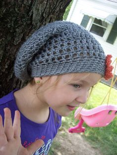 Crochet Slouchy Hat ~ Free Pattern----just made this for Liv minus the flower,..quick easy super cute---under 3 hours