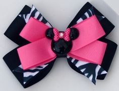Hot Pink and Zebra Minnie Mouse Inspired Hair Bow by bowsforme, $7.49