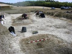 """An ancient ceremonial site the size of Stonehenge has been discovered on the North Downs.  The exact purpose of the site - a neolithic """"henge"""" near Hollingbourne - remains shrouded in mystery, but a large amount of burnt bone and pottery uncovered suggest it was used in a ritual capacity for almost 2000 years, as far back as 2500BC, the end of the Stone Age."""