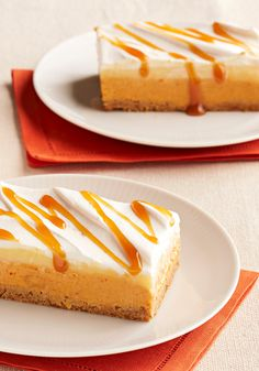 No-Bake Pumpkin Spice Layered Dessert -- This festive, fall dessert recipe couldn't be easier to make, but it looks quite impressive, thanks to whipped topping and a drizzle of caramel.