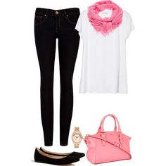 black jeans and white t-shirt, pink scarf, flats. Tuesday