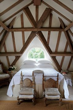 Rustic Bedroom by and for Anouska Hempel in Wiltshire, England