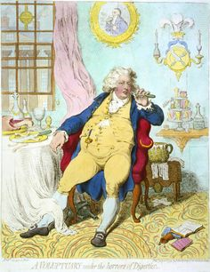 A voluptuary under the horrors of digestion by James Gilray c 1792 - Caricature of George IV, languid with repletion,  at a table covered with remains of a meal. His waistcoat is held together by a single button across his distended stomach. In the background, the Prince of Wales' three ostrich feathers emblem is shown above a knife and fork crossed on a plate. The picture behind is of Luigi Cornaro, a Venetian nobleman who wrote several treatises concerning dieting & eating habits.