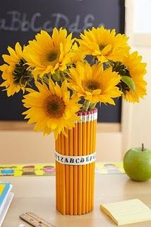 Pencil bouquet - hot glue gun pencils to a can/jar, so water can be held at base. Wrap a ribbon around, and fill with flowers! Or- just use a rubber band around the pencils (under the ribbon) to make it easy to use the pencils!