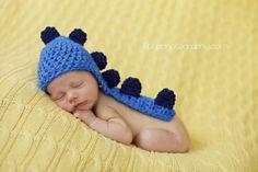 Knit newborn Dino hat