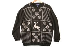 Soft Reindeer & Snowflake Tacky Ugly Christmas Sweater Men's Size XL $28