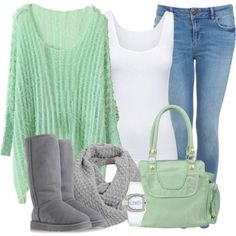 Winter Outfits | Gray and Mint | Fashionista Trends