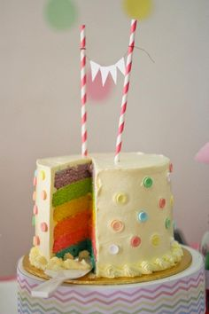 Cutest cake ever!!! Rainbow layers!!