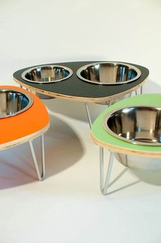 Mid Century Modern dog bowls for Jared...and the dog.