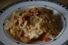 Sun dried tomato risotto. Since she said to put the sun dried tomatoes on the bottom of the slow cooker, they'd need to be the last thing in the freezer bag.