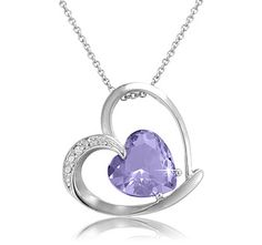 $7.99 - Lavender Glass Heart Pendant with Crystal Accent