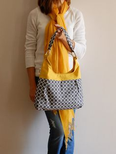 Metro Dots in Grey and Mustard Pleated Purse by LucyJaneTotes, $65.00