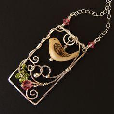 bird in a garden wire pendant
