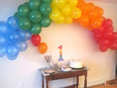 birthday parties, party themes, arches, rainbow balloon, garlands
