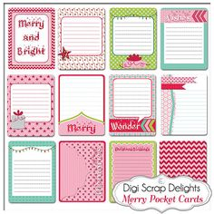 Project Life Inspired Journal Cards Merry by DigiScrapDelights 12 Christmas Pocket Cards for Becky Higgins Project Life Journaling Cards