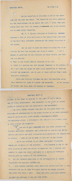 Extract from a transcript for an interview with RAB Butler and Richard Montague Smith, a reporter from The Daily Mail  14 November 1944  Catalogue reference: ED 121/202