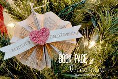 Homemade Book Page Ornament @ astepinthejourney.com