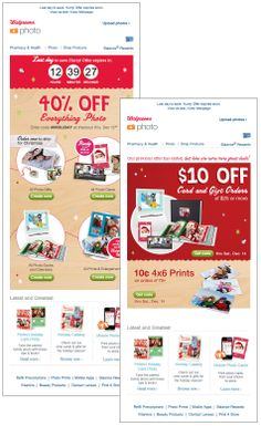 Walgreens counted down until the end of a limited time holiday sale on photo products. After the offer had expired, the email completely changed to promote a new offer and call to action. #emailmarketing #retail #countdownclock #holidayemail