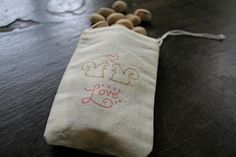 "muslin Wedding favor bags     3x5. Set of 50.  Squirrels and ""True Love"" on natural white cotton.. $50.00, via Etsy."