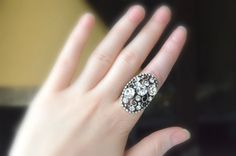 art deco clear crystal swarovski rhinestone tibetan silver plated adjustable ring wedding jewelry bridesmaid gifts bridesmaids jewelry on Etsy, 22,00$