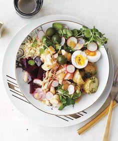 Tuna Health Bowl: Tuna, quinoa, steamed beets, steamed herb potatoes, watercress, olives, radishes, hard-boiled eggs, cannellini beans, mustard vinaigrette -minus potatoes